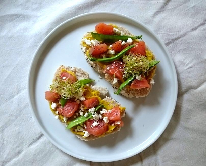toast houmous saumon